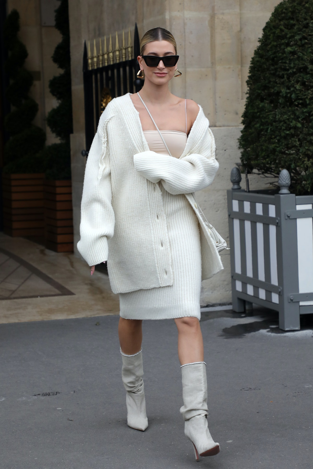 Hailey Bieber is seen leaving the Crillon hotel in Paris, France in February 2020.