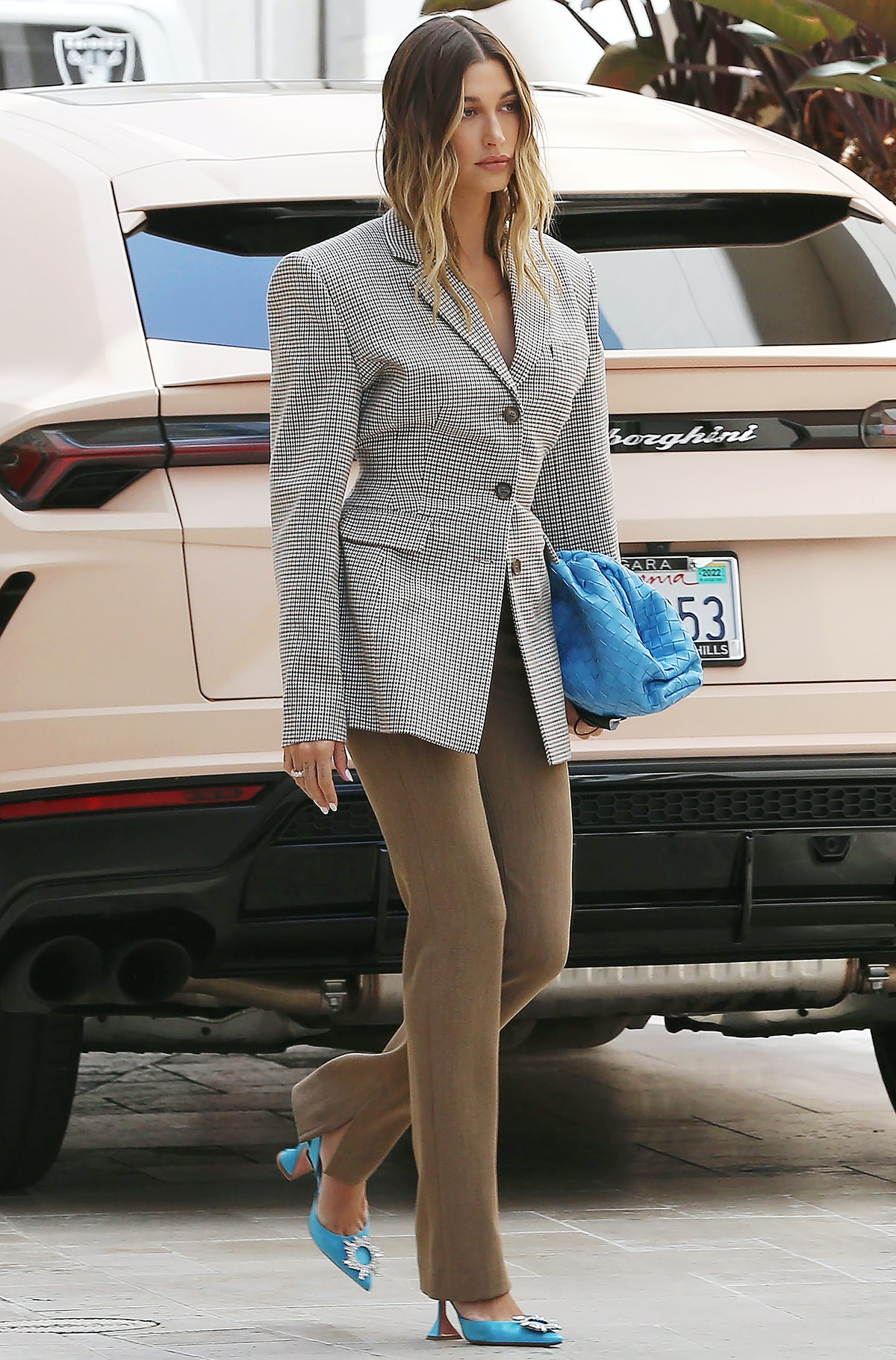 Hailey Bieber is seen in Los Angeles, California in April 2021.