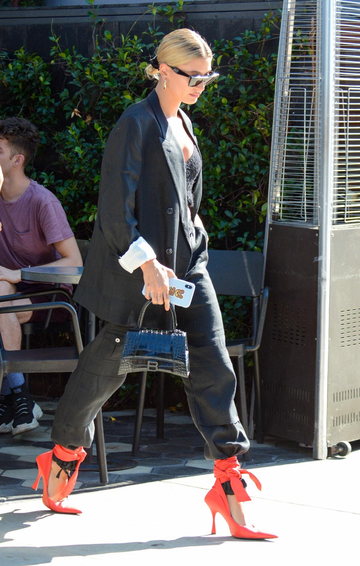 Hailey Bieber is seen in Los Angeles, California in August 2019.