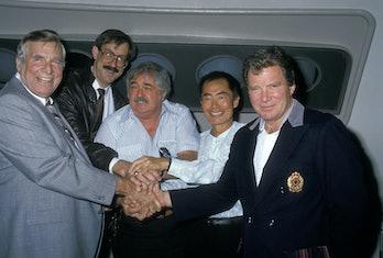 Producer Gene Roddenberry and Star Trek cast members attend Star Trek Universal Studios Tour Showing...