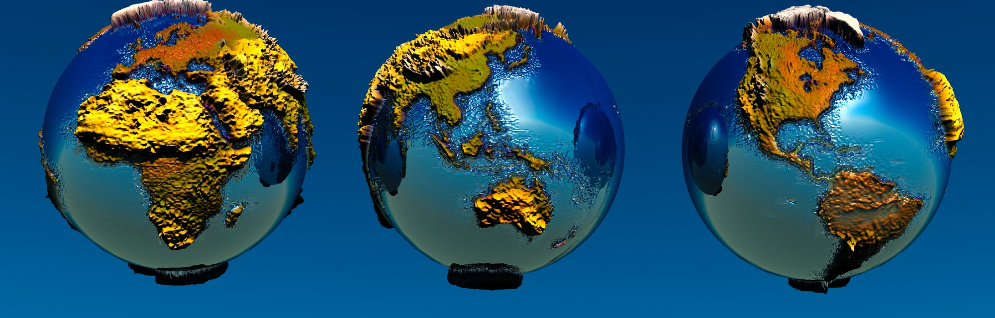 3 Views Of The Earth Showing Different Continents