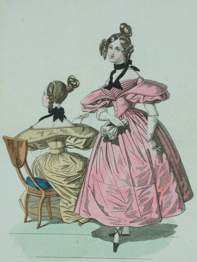 Woman wearing a pink dress with short-puffed sleeves, white gloves, and black-ribboned bow around he...