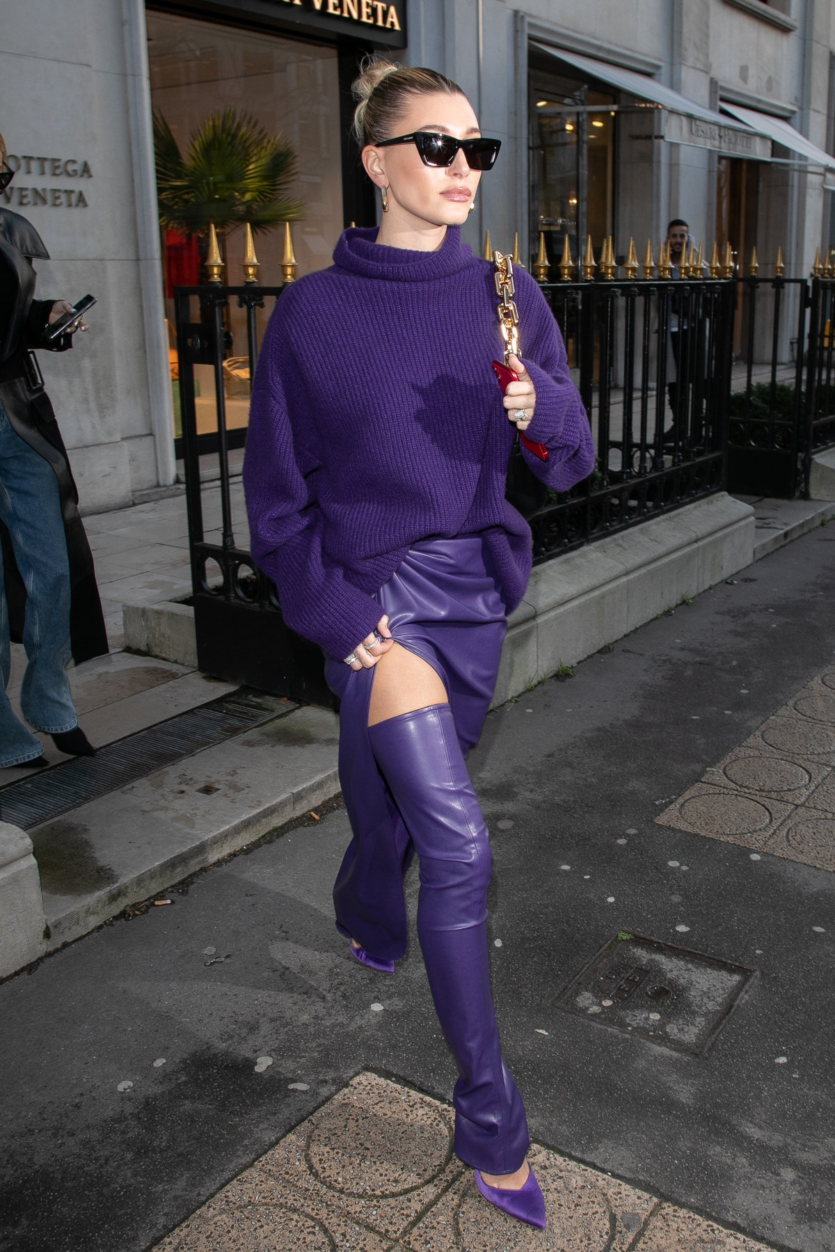 Hailey Bieber is seen on Avenue Montaigne in Paris, France in February 2020.