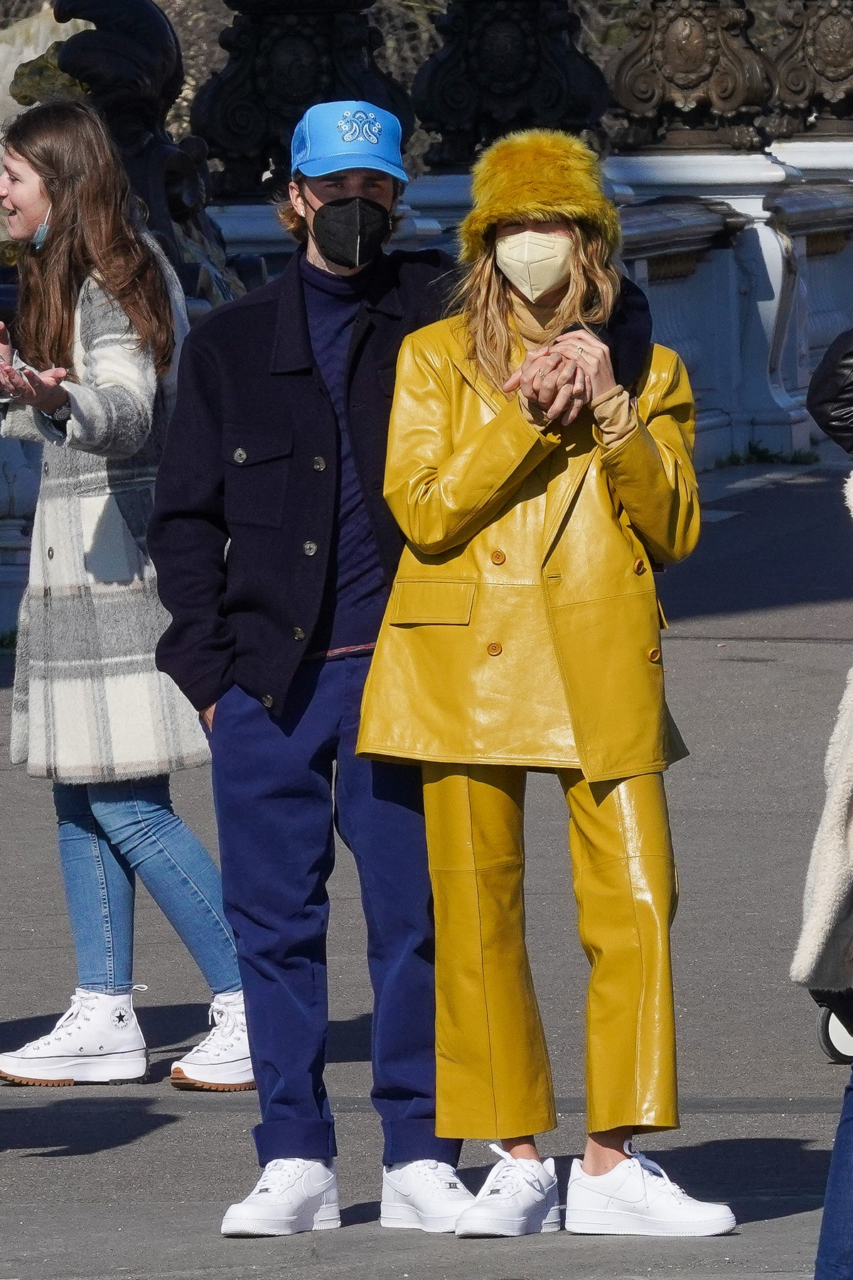 Justin Bieber and Hailey Baldwin Bieber are seen strolling on the Pont Alexandre III in Paris, Franc...