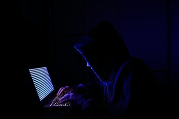 A person dressed as an internet hacker is seen with binary code displayed on a laptop screen in this...