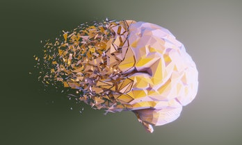 Low poly human brain dissolving, symbolizing mental disorder, Alzheimer's disease and mental health ...