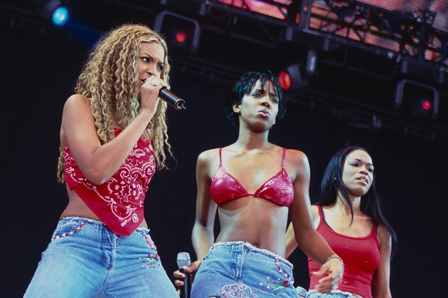 LONDON, ENGLAND - July 09: Beyonce, Kelly Rowland and Michelle Williams of Destiny's Child perform a...