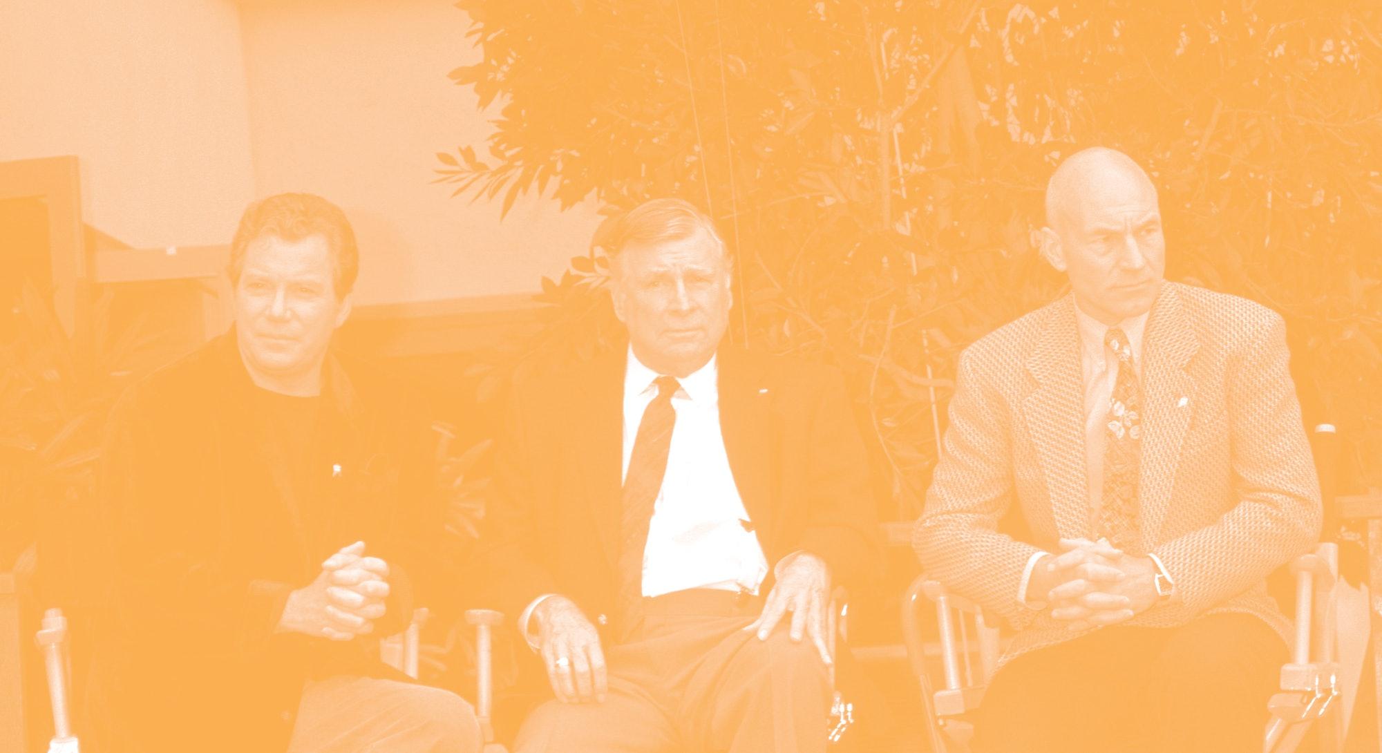 """William Shatner, """"Star Trek"""" creator Gene Roddenberry and Patrick Stewart (Photo by Ron Galella, Ltd..."""