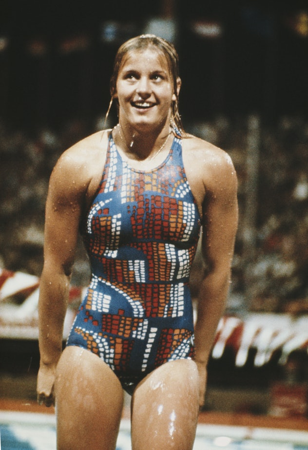 Kornelia Ender of East Germany after the Women's 100 metres Butterfly on 22nd July 1976 during the X...