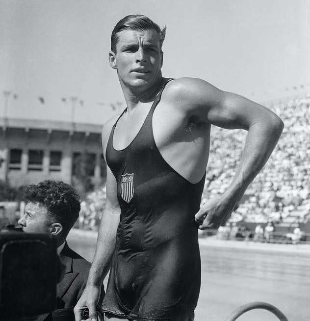 After winning gold in the 400-meter freestyle event at the Los Angeles Olympic Games, Buster Crabbe ...