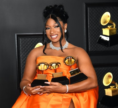 Megan Thee Stallion sports '90s prom reminiscent hair at the Grammy's.
