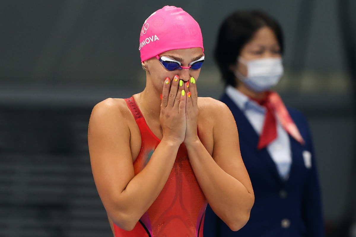 TOKYO, JAPAN - JULY 26, 2021: ROC athlete Yulia Yefimova before competing in a women's 100m breastst...