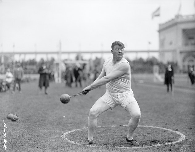 (Original Caption) 1920-Antwerp, Belgium- Picture shows Pat Ryan, of the US, in action during the Ha...