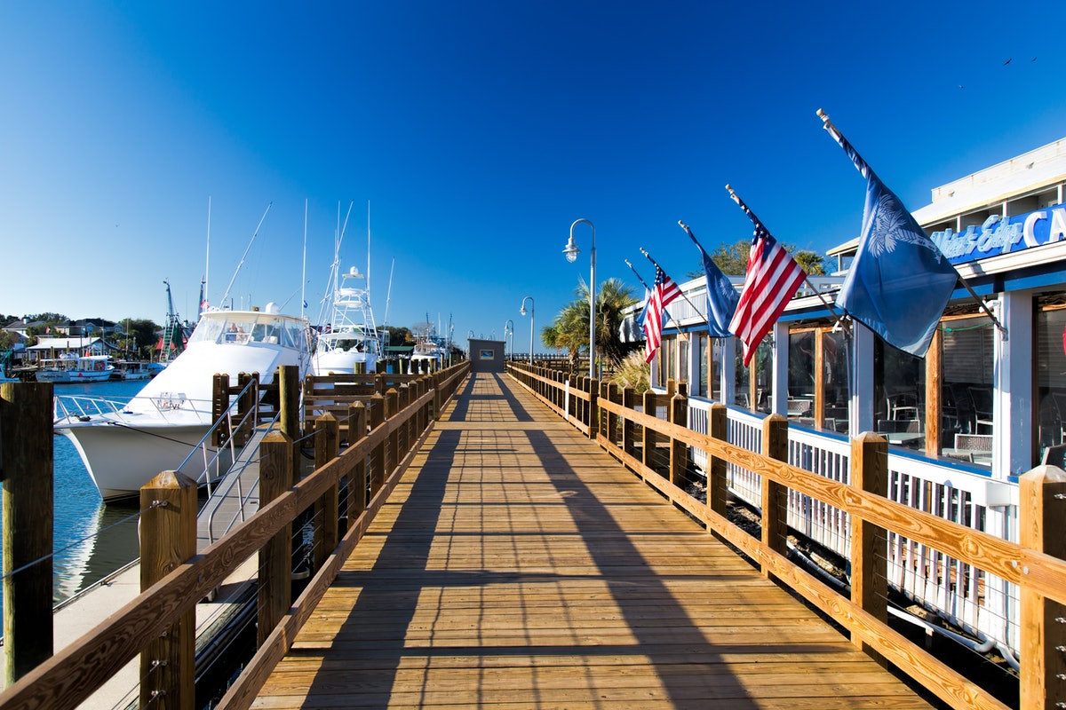 Out on the dock at Shem Creek, which was used as an 'Outer Banks' filming locations, on a sunny day.
