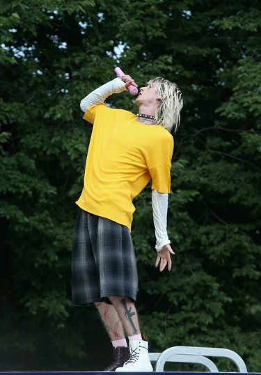 CHICAGO, IL - JULY 31:  Machine Gun Kelly performs a surprise set during day three of Lollapalooza a...