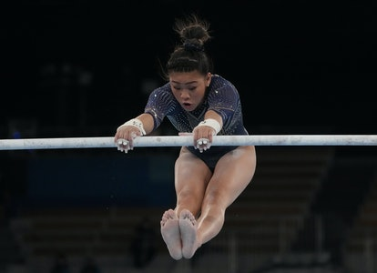 TOKYO, JAPAN - AUGUST 01: Sunisa Lee of Team United States competes in the Women's Uneven Bars Final...