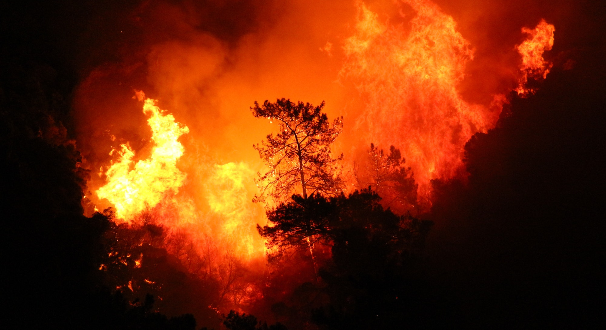 Smoke and flames rise from a forest fire in Marmaris district in Mugla, Turkey, on Saturday, July 31...