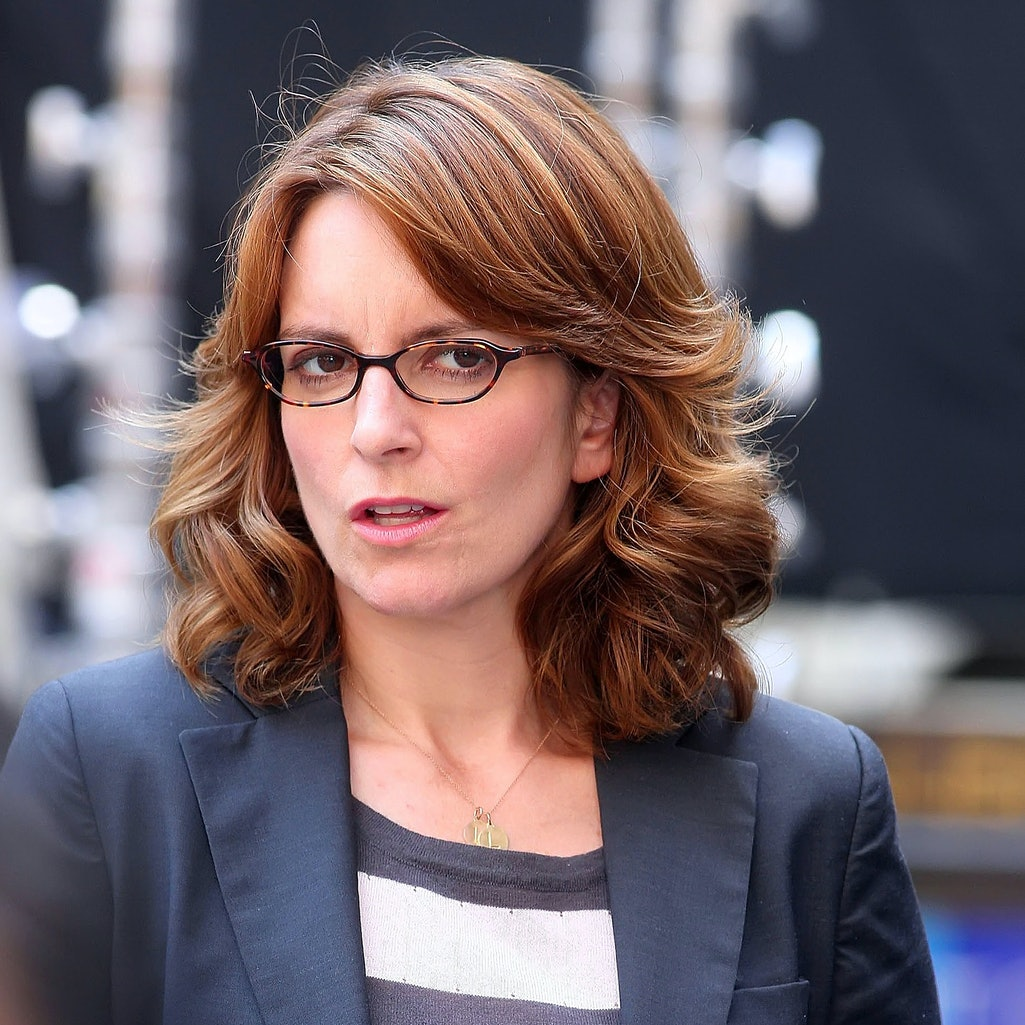 Tina Fey is seen on the movie set of '30 Rock' on August 28, 2012 in New York City.  (Photo by DISCI...