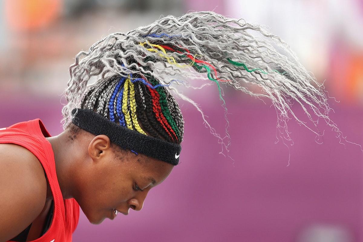 TOKYO, JAPAN - JULY 27: A detail shot of the hair of Stephanie Mawuli of Team Japan in the 3x3 Baske...