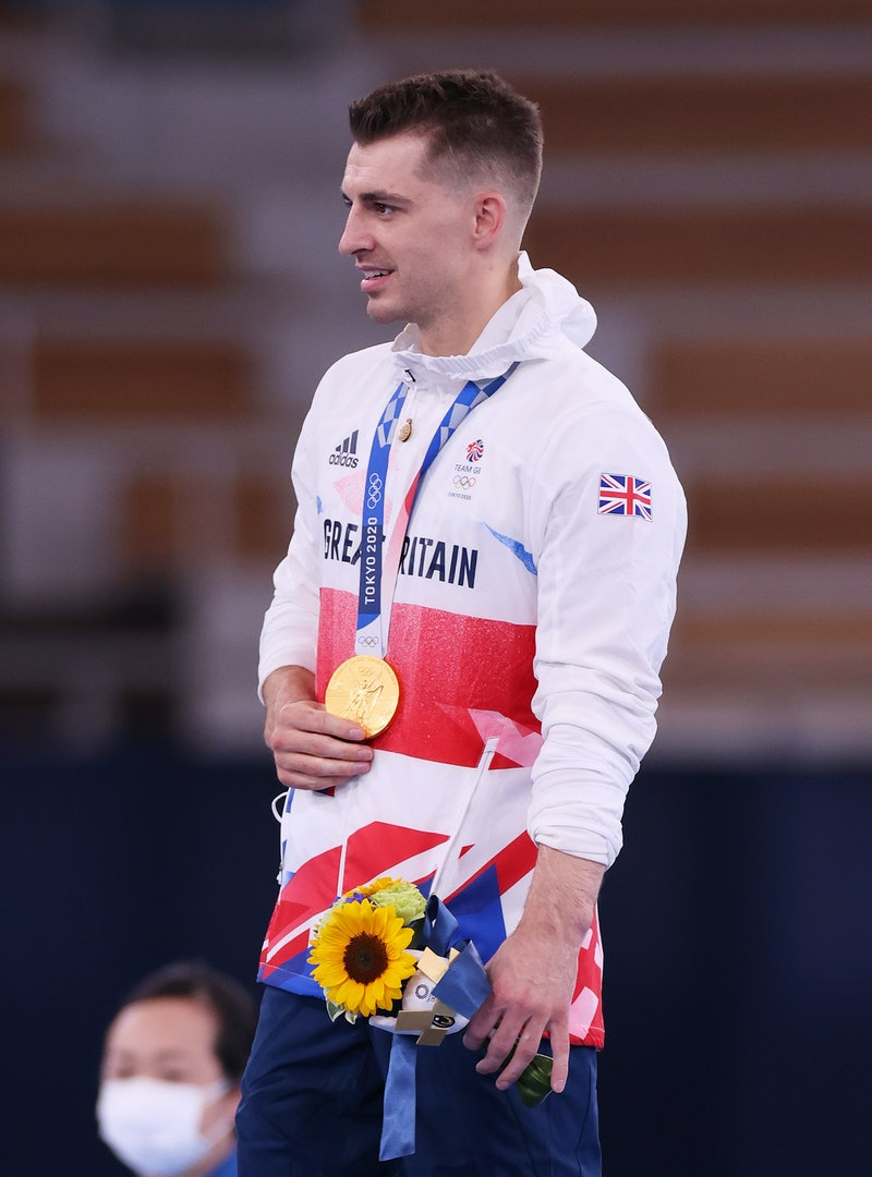 TOKYO, JAPAN - AUGUST 01: Gold medalist Max Whitlock of Team Great Britain looks on from the podium ...