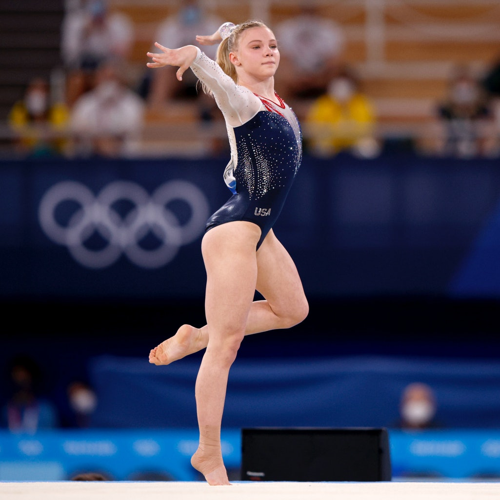TOKYO, JAPAN - AUGUST 02: Jade Carey of Team United States competes during the Women's Floor Exercis...