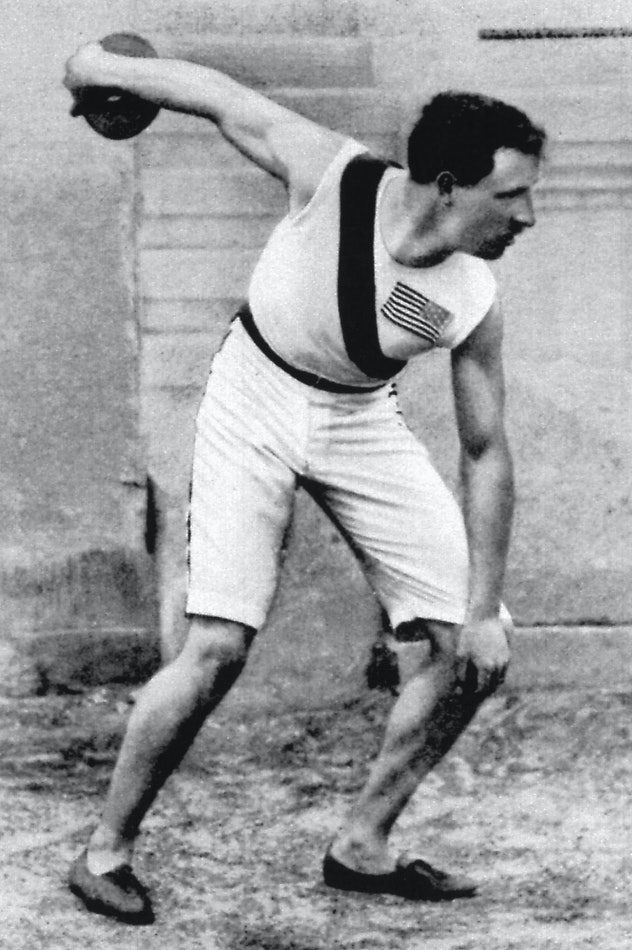 ATHENS, GREECE - 1896:  Robert Garrett of the USA wins the gold in the discus event during the I Oly...