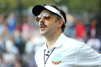 Jason Sudeikis, in character as coach Ted Lasso, whose zodiac sign is Sagittarius.