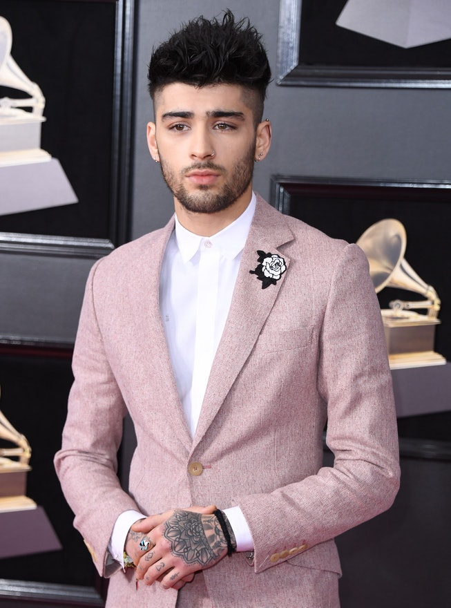 Zayn Malik arrives for the 60th Grammy Awards on January 28, 2018, in New York.  / AFP PHOTO / ANGEL...