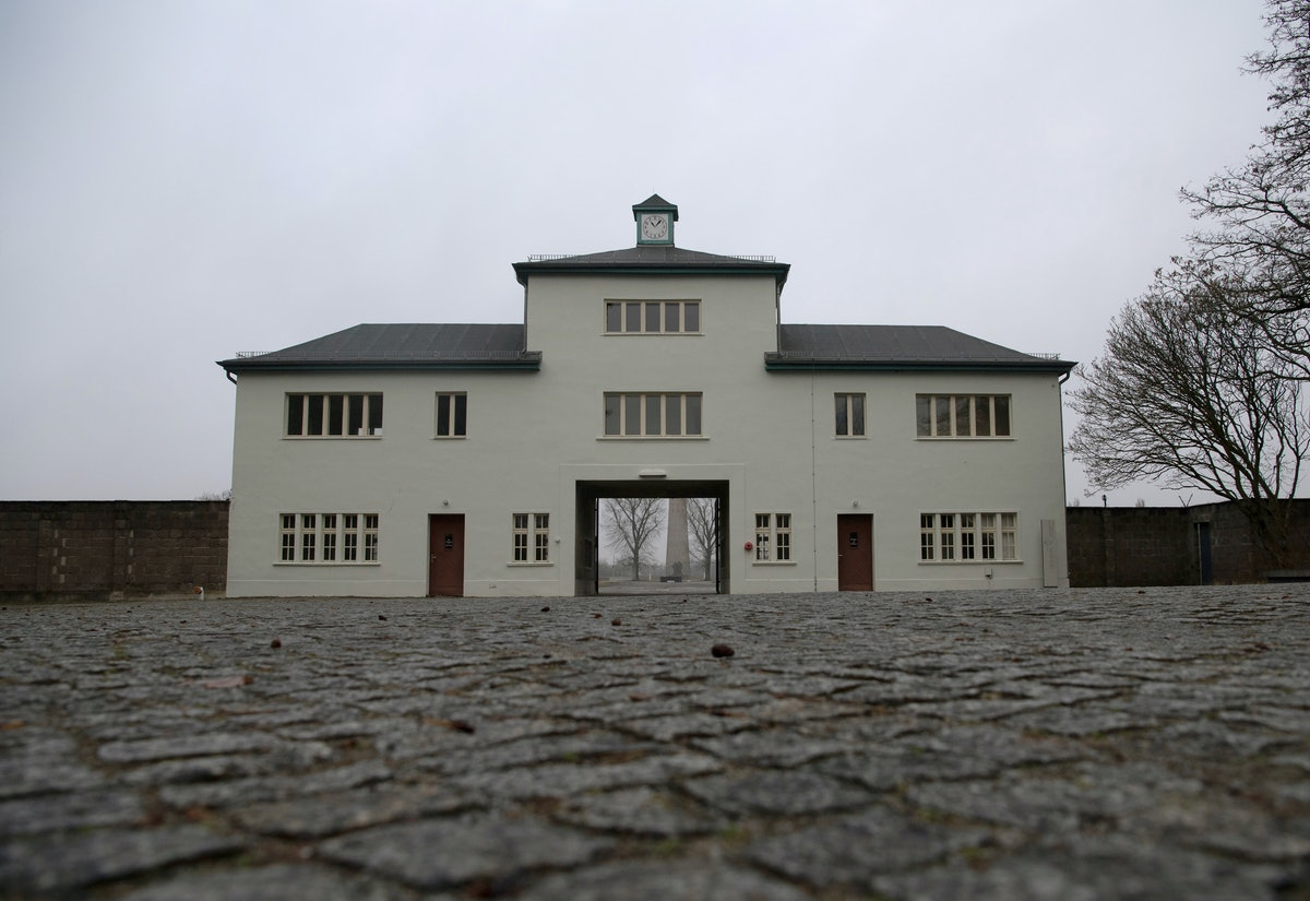 27 January 2021, Brandenburg, Oranienburg: View of the entrance to the Sachsenhausen memorial. A dig...