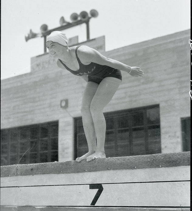 Representing Australia in the women's Olympic swimming events at Los Angeles, California, in 1932, C...