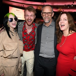 LOS ANGELES, CALIFORNIA - DECEMBER 12: (L-R) Billie Eilish, Finneas O'Connell, Patrick O'Connell and...