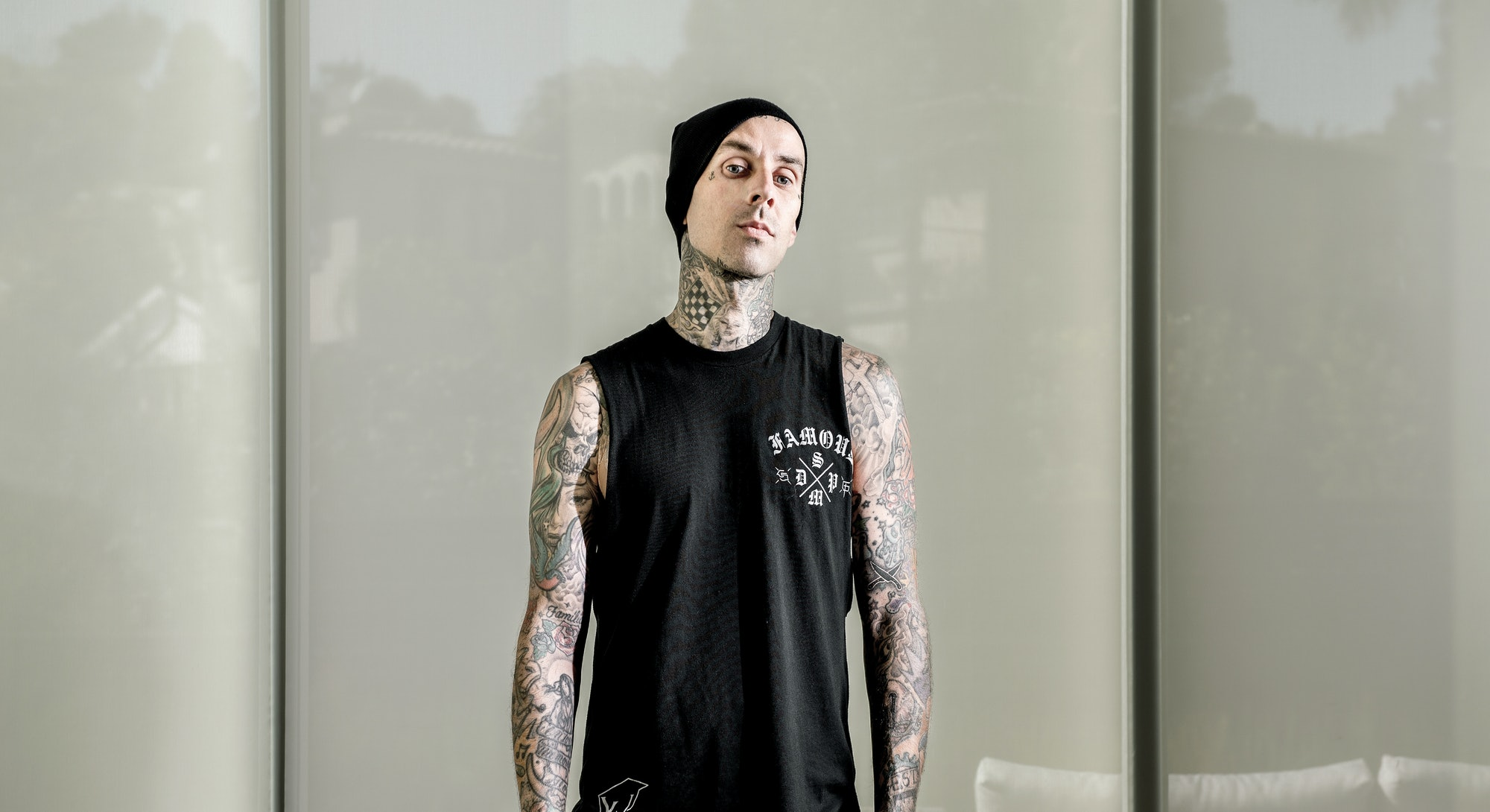 LOS ANGELES, CA - FEBRUARY 25: Blink-182 drummer Travis Barker is also the curator of the eighth ann...