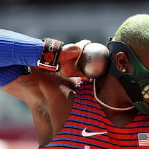 Raven Saunders of the United States competes during the women's shot put final at Tokyo 2020 Olympic...