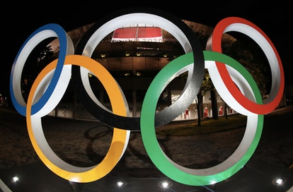The Olympic Rings in front of the Olympic Stadium