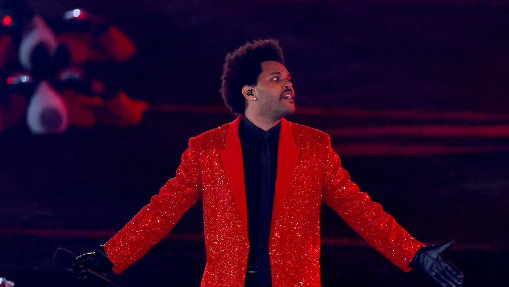 TAMPA, FLORIDA - FEBRUARY 07: The Weeknd performs during the Pepsi Super Bowl LV Halftime Show at Ra...