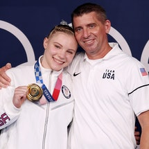 TOKYO, JAPAN - AUGUST 02: Jade Carey of Team United States poses with her father and coach, Brian Ca...