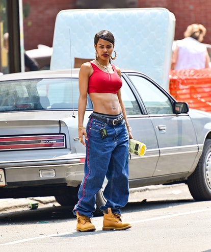 """NEW YORK, NEW YORK - JULY 27:  Teyana Taylor seen on the set of """"A Thousand and One"""" in Harlem on Ju..."""