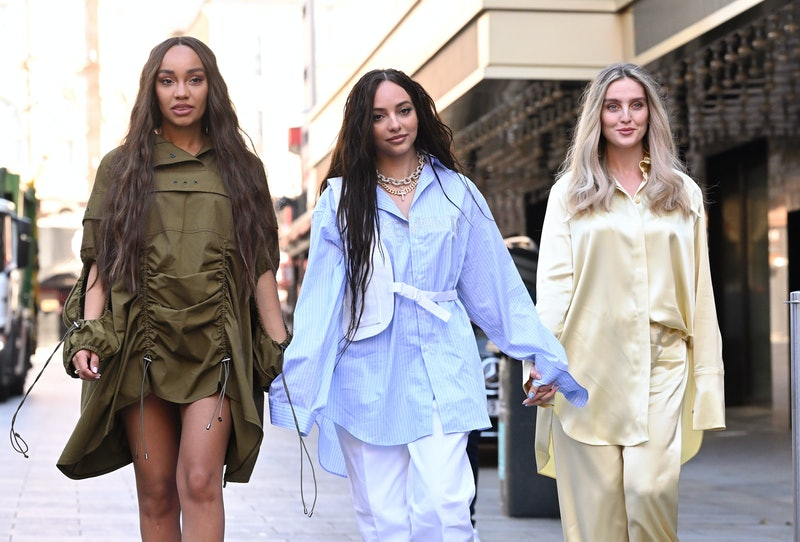 LONDON, ENGLAND - APRIL 30: Leigh-Anne Pinnock, Jade Thirlwall and Perrie Edwards of Little Mix arri...