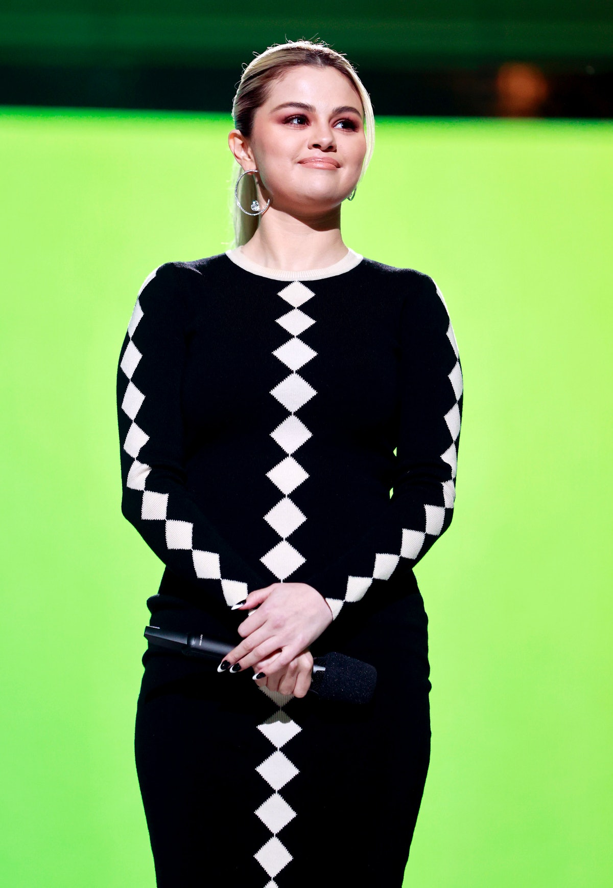 INGLEWOOD, CALIFORNIA: In this image released on May 2, Selena Gomez speaks onstage during Global Ci...