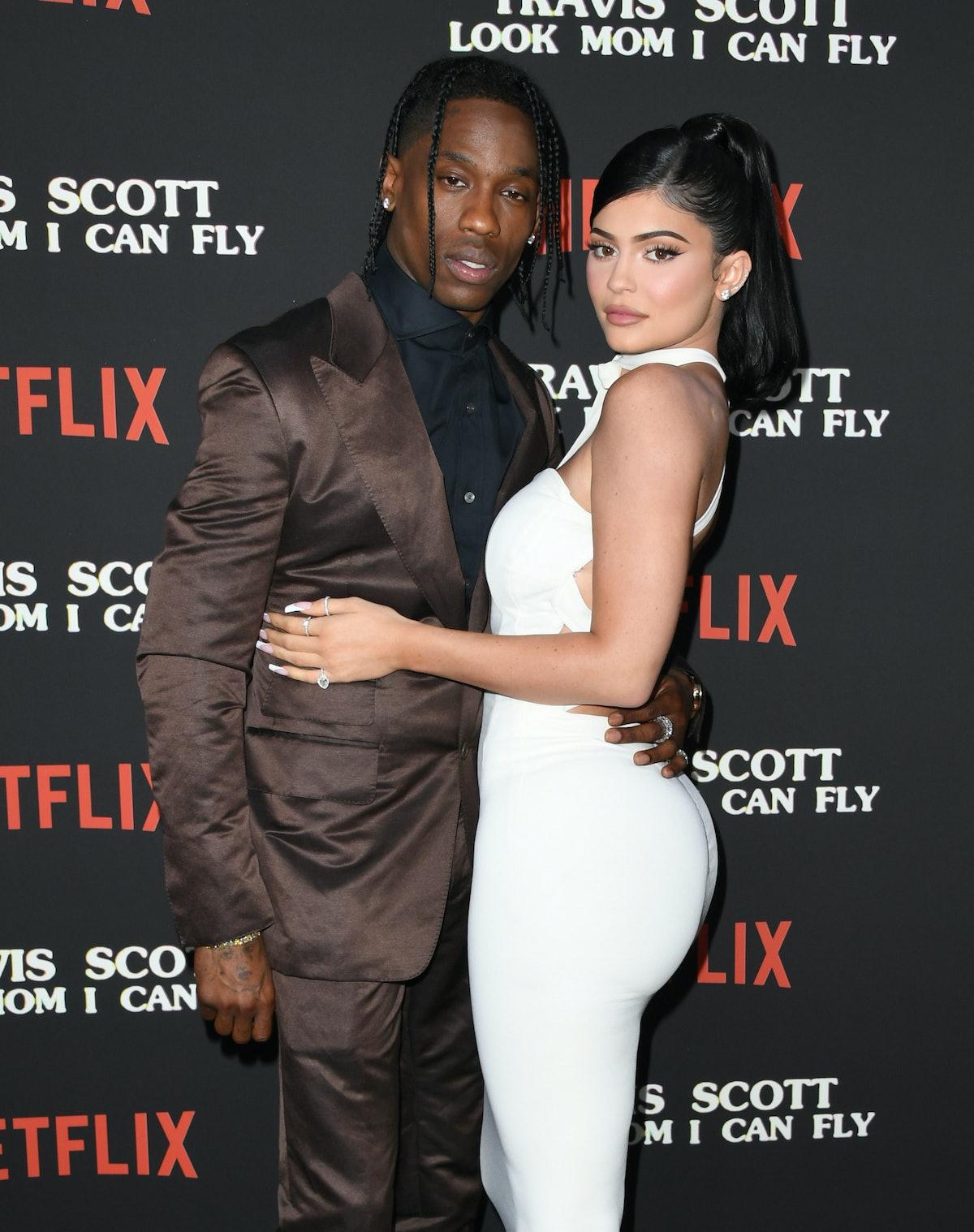 SANTA MONICA, CALIFORNIA - AUGUST 27:  Travis Scott and Kylie Jenner attend the Premiere Of Netflix'...
