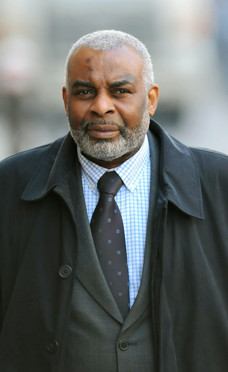 Neville Lawrence, the father of Stephen Lawrence, arrives at the Old Bailey in London, where the tri...