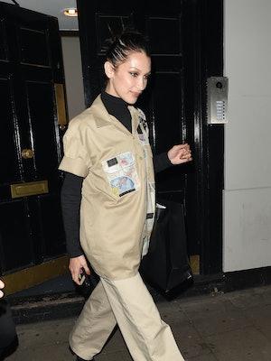 LONDON, ENGLAND - OCTOBER 23:  Bella Hadid seen leaving Dean Street Studios on October 23, 2019 in L...