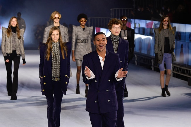PARIS, FRANCE - SEPTEMBER 30: Olivier Rousteing and models walk the runway during the Balmain Womens...