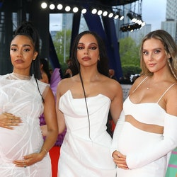 LONDON, ENGLAND - MAY 11: Leigh-Anne Pinnock, Jade Thirlwall and Perrie Edwards of Little Mix arrive...