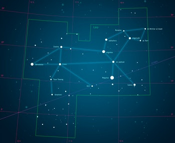 Illustration of the constellation Leo, showing the constellation boundary and principle stars.