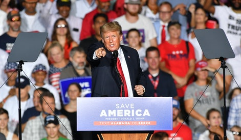 CULLMAN, USA - AUGUST 21: Donald J. Trump delivers remarks at a major rally hosted by the Alabama Re...