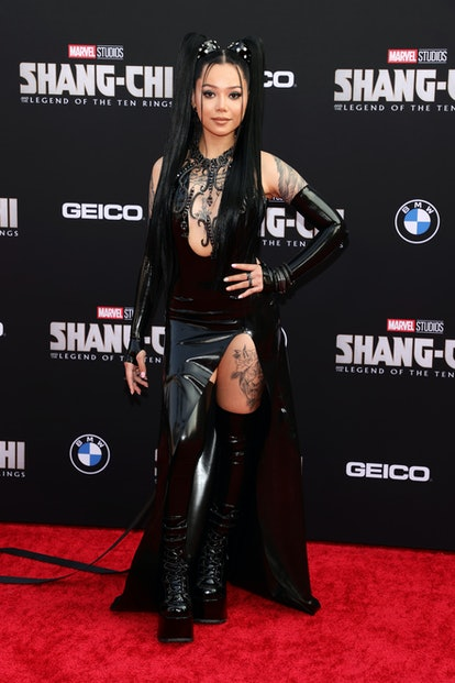 """LOS ANGELES, CALIFORNIA - AUGUST 16: Bella Poarch attends Disney's premiere of """"Shang-Chi And The Le..."""