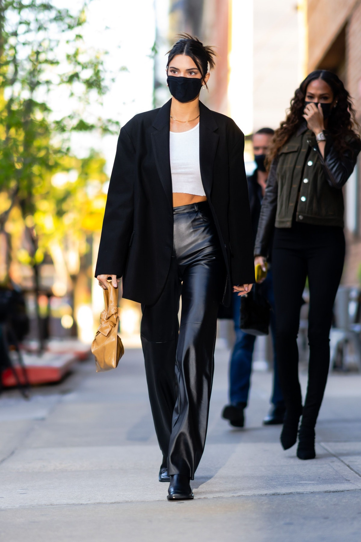 Kendall Jenner and Joan Smalls are seen in Tribeca in New York City in April 2021.