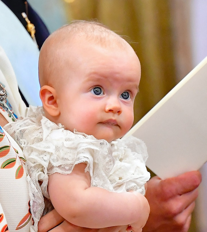 Prince Julian looks on during his Christening ceremony at the Drottningholm Palace Chapel in Stockho...