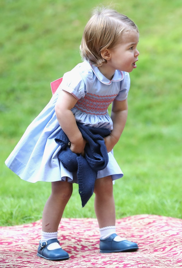 Princess Charlotte in blue.